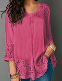 povoljno Majica-Veći konfekcijski brojevi Bluza Žene Jednobojni V izrez Crvena XXXL