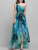 hesapli NYE Elbiseleri-Kadın's Zarif Çan Elbise - Geometrik, Desen Tek Omuz Asimetrik