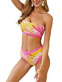 halpa Bikinis-Naisten Valkoinen Punastuvan vaaleanpunainen Keltainen Tankini Uima-asut - Kukka S M L Valkoinen