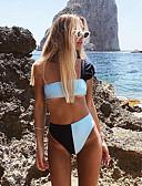 halpa Bikinis-Naisten Urheilullinen Perus Valkoinen Bandeau Pikkutuhmat Tankini Uima-asut - Color Block Avoin selkä S M L Valkoinen