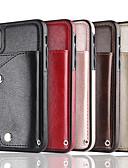 זול מגנים לאייפון-מגן עבור Apple iPhone X / iPhone 8 Plus / iPhone 8 ארנק / מחזיק כרטיסים כיסוי אחורי אחיד רך עור אמיתי
