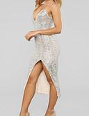 hesapli Mini Elbiseler-Kadın's Bandaj Elbise - Solid Asimetrik