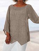 billige Bluse-Overdimensionerede Dame - Stribet Patchwork / Trykt mønster Vintage / Basale T-shirt Hvid