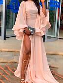 זול שמלות ערב-גזרת A צווארון גבוה שובל סוויפ \ בראש שיפון ערב רישמי שמלה עם שסע קדמי / קפלים על ידי LAN TING Express
