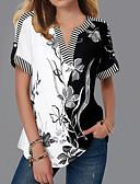hesapli Bluz-Kadın's V Yaka Bluz Çiçekli Sokak Şıklığı Siyah