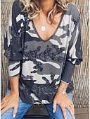 hesapli Gömlek-Kadın's Tişört kamuflaj Siyah