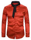 hesapli Erkek Pantolonları ve Şortları-Erkek Gömlek Kırk Yama, Solid / Zıt Renkli Temel Siyah & Kırmızı / Siyah ve Beyaz Beyaz