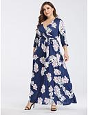hesapli Büyük Beden Elbiseleri-Kadın's Boho Çan Elbise - Çiçekli, Bağcık Desen Maksi Mavi & Beyaz