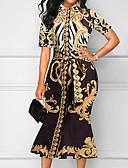 hesapli Vintage Kraliçesi-Kadın's Temel Kılıf Elbise - Geometrik Asimetrik