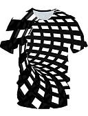זול טישרטים לגופיות לגברים-3D סגנון רחוב טישרט - בגדי ריקוד גברים קפלים / דפוס כחול ולבן שחור