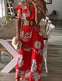hesapli Kadın Elbiseleri-Kadın's Boho sofistike Çan Elbise - Çiçekli, Kırk Yama Desen Wrap Midi Tropikal yaprak