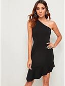 hesapli Kadın Elbiseleri-Kadın's Sokak Şıklığı sofistike Bandaj Kılıf Elbise - Solid, Dantelli Diz üstü