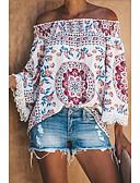 hesapli Bluz-Kadın's Bluz Desen, Geometrik Temel Beyaz