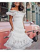 hesapli Kadın Elbiseleri-Kadın's Temel Çan Elbise - Solid, Dantel Şalter Düşük Omuz Asimetrik