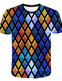 cheap Men's Tees & Tank Tops-Men's Club Beach Street chic / Exaggerated T-shirt - Color Block / 3D / Graphic Print Rainbow