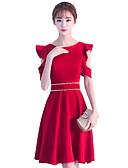 povoljno Maturalne haljine-A-kroj Ovalni izrez Do koljena Poliester Koktel zabava Haljina s Perlica po LAN TING Express