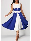 povoljno Ženske haljine-Žene Elegantno Dvodijelni kroj Haljina - Mašna, Jednobojni Midi Blue & White