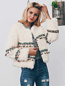 cheap Women's Fur & Faux Fur Coats-Women's Holiday / Going out Vintage / Street chic Fall & Winter Short Faux Fur Coat, Color Block Square Neck Long Sleeve Faux Fur Tassel / Print Blushing Pink / Beige / Loose