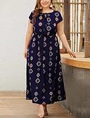 povoljno Haljine-Žene Ulični šik Elegantno A kroj Korice Swing kroj Haljina - Vezanje straga Print, Geometrijski oblici Maxi