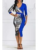 hesapli NYE Elbiseleri-Kadın's Parti Kulüp Temel İnce Bandaj Kılıf Elbise - Geometrik Zıt Renkli, Payetler Bölünmüş Kırk Yama Derin V Diz-boyu Yüksek Bel / Sexy