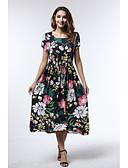 hesapli Print Dresses-Kadın's Boho A Şekilli Elbise - Çiçekli Midi