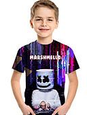 povoljno Majice za dječake-Djeca Dječaci Osnovni Geometrijski oblici Kratkih rukava Majica s kratkim rukavima Crvena