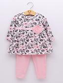 povoljno Kompletići za bebe-Dijete Djevojčice Osnovni Rukav leptir Cvjetni print / Print Mašna / Print Dugih rukava Regularna Normalne dužine Komplet odjeće Blushing Pink