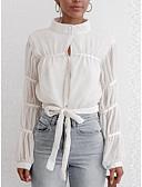 hesapli Gömlek-Kadın's Tişört Solid Sokak Şıklığı Beyaz