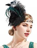billige Historiske kostymer og vintagekosty,re-Vintage 1920s Den store Gatsby Flapperpannebånd i 1920-stil Dame Kostume Hodeplagg Grønn / Hvit Vintage Cosplay Festival