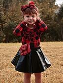 povoljno Kompletići za djevojčice-Djeca Djevojčice Aktivan Osnovni Dnevni Nosite Crno-crvena Jednobojni Mašna Nabori Dugih rukava Regularna Normalne dužine Komplet odjeće Red