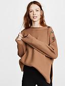 billige T-skjorter til damer-Dame Ensfarget Langermet Pullover, Rund hals Høst Vin / Brun / Beige S / M / L
