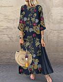 お買い得  ヴィンテージドレス-女性用 ベーシック Aライン ドレス - パッチワーク, 幾何学模様 ミディ