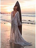 hesapli Print Dresses-Kadın's Çan Elbise - Solid, Payetler Maksi