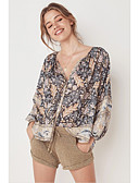 billige T-skjorter til damer-T-skjorte Dame - Blomstret / Geometrisk / Batikkfarget, Trykt mønster Bohem / Gatemote Tropisk blad / Svart Svart