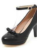 hesapli Kadın Etekleri-Kadın's Topuklular Stiletto Topuk Yuvarlak Uçlu Fiyonk / Toka PU İlkbahar & Kış Siyah / Beyaz / Pembe / Düğün / Parti ve Gece