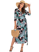 hesapli Kadın Elbiseleri-Kadın's Boho A Şekilli Elbise - Çiçekli, Bölünmüş Bağcık Wrap Midi Tropikal yaprak