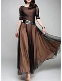 hesapli NYE Elbiseleri-Kadın's Zarif Çan Elbise - Solid Maksi