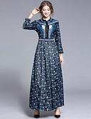 hesapli Maksi Elbiseler-Kadın's Zarif A Şekilli Elbise - Çiçekli, Kırk Yama Desen Maksi