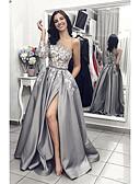 זול שמלות ערב-גזרת A כתפיה אחת שובל סוויפ \ בראש סאטן ערב רישמי שמלה עם אפליקציות / שסע קדמי על ידי LAN TING Express