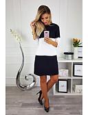 זול שמלות מיני-שחור ולבן מעל הברך קולור בלוק - שמלה ישרה בגדי ריקוד נשים