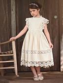 hesapli Elbiseler-Çocuklar Genç Kız Solid Desen Kısa Kollu Diz üstü Elbise Beyaz
