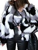 povoljno Jakne i kaputi za djevojčice-Žene Dnevno Normalne dužine Faux Fur Coat, Color block Okrugli izrez Dugih rukava Umjetno krzno Crn