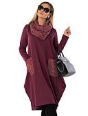 billige Bluser-Dame Grunnleggende Elegant T skjorte Kjole - Ensfarget Midi