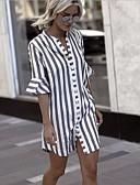 hesapli Mini Elbiseler-Kadın's Sokak Şıklığı Gömlek Elbise - Çizgili Diz üstü