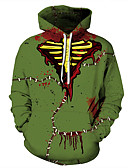 Χαμηλού Κόστους Αντρικές Μπλούζες με Κουκούλα & Φούτερ-Ανδρικά Καθημερινό / Halloween Φούτερ με Κουκούλα - Συνδυασμός Χρωμάτων / 3D / Νεκροκεφαλές