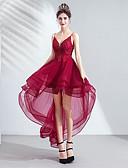 billige Todelte kjoler-A-linje V-hals Asymmetrisk Tyll Cocktailfest Kjole med Perlearbeid / Paljett / Appliqué av LAN TING Express