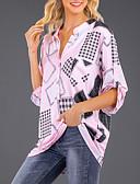 זול טישרט-אחיד רזה חולצה - בגדי ריקוד נשים קפלים לבן / אביב / קיץ / סתיו / חורף