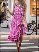 hesapli Print Dresses-Kadın's Kılıf Elbise - Çiçekli Midi