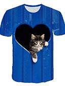 זול טישרטים לגופיות לגברים-3D / גראפי / חיה סגנון רחוב / מוּגזָם טישרט - בגדי ריקוד גברים דפוס כחול ים