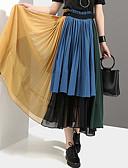 זול חצאיות לנשים-קפלים קולור בלוק - חצאיות מקסי נדנדה בסיסי בגדי ריקוד נשים פול מידה אחת
